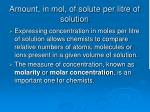 amount in mol of solute per litre of solution
