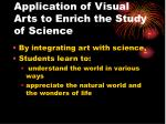 application of visual arts to enrich the study of science