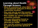 learning about health through science