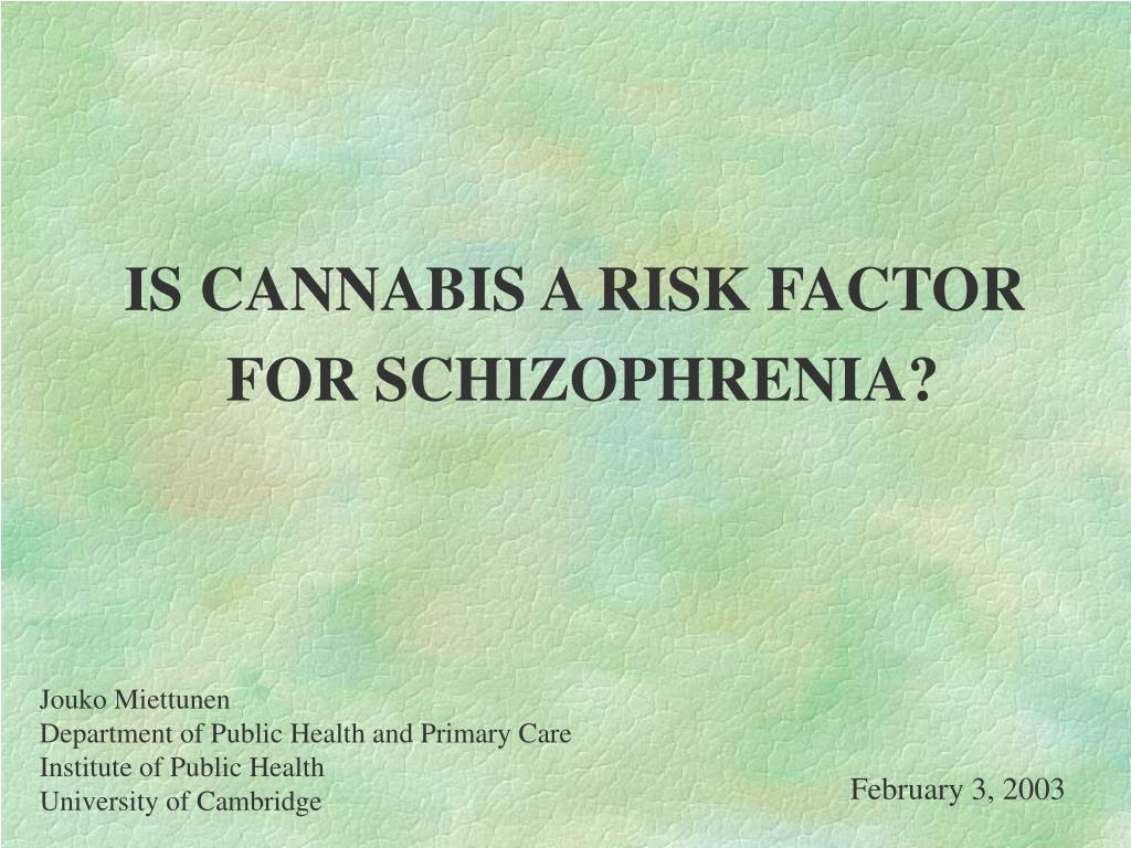 is cannabis a risk factor for schizophrenia l.