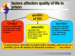 factors affection quality of life in prison