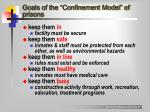 goals of the confinement model of prisons