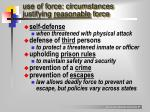 use of force circumstances justifying reasonable force