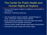 the center for public health and human rights at hopkins