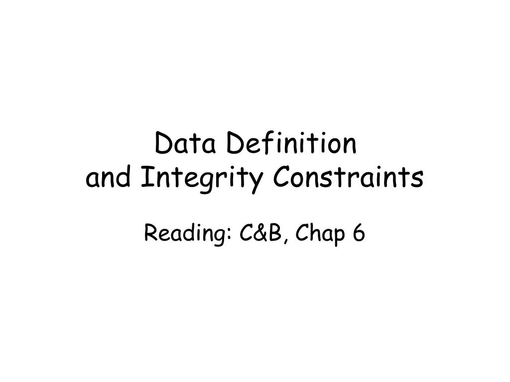 data definition and integrity constraints l.