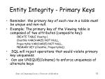 entity integrity primary keys