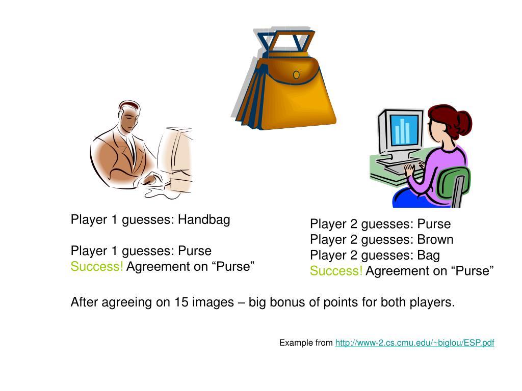 Player 1 guesses: Handbag