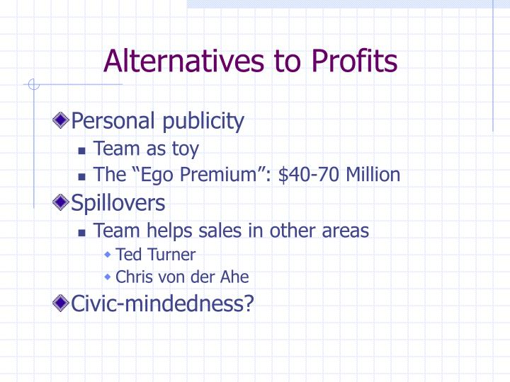 Alternatives to profits