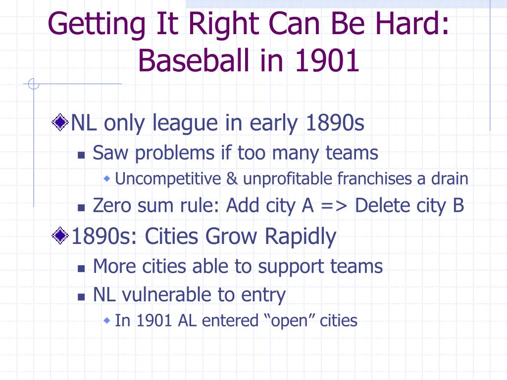 Getting It Right Can Be Hard: Baseball in 1901