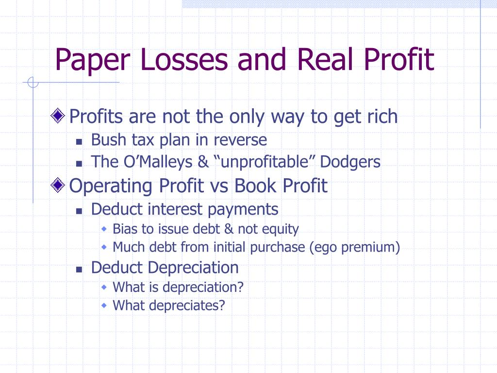 Paper Losses and Real Profit