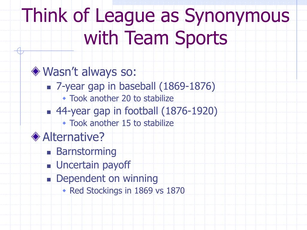 Think of League as Synonymous with Team Sports
