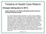 timeline of health care reform26