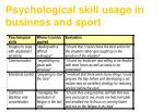 psychological skill usage in business and sport