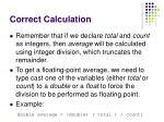correct calculation