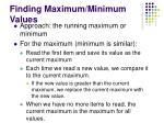 finding maximum minimum values