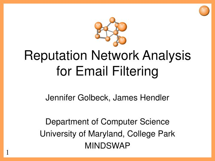 Reputation network analysis for email filtering