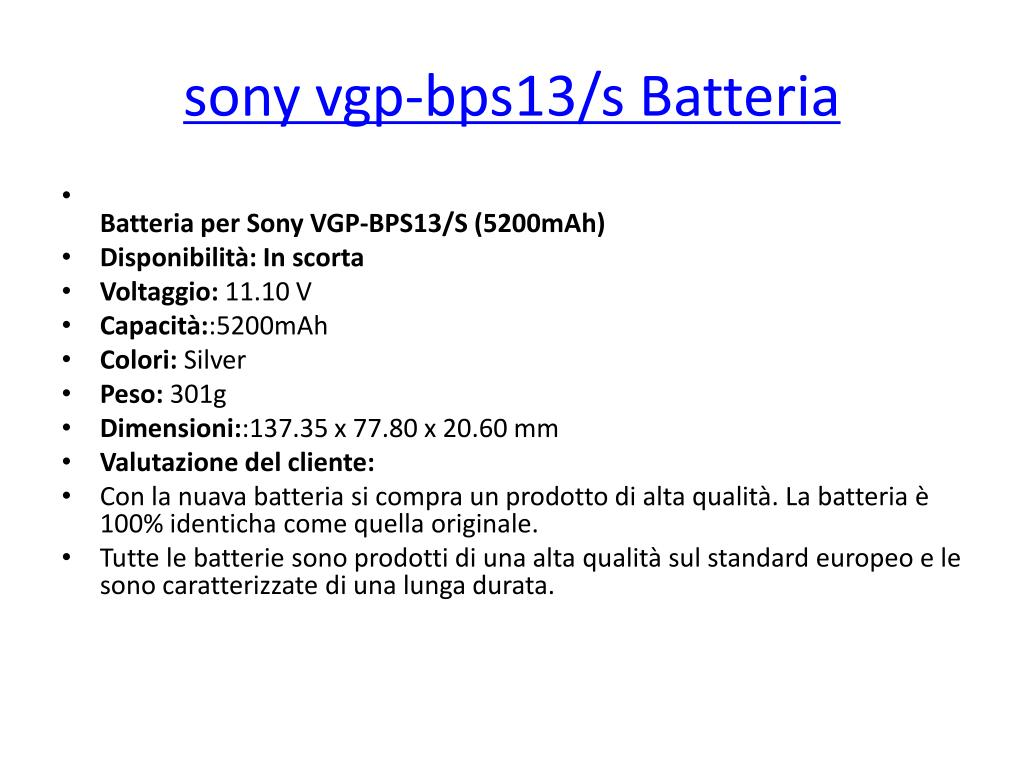 sony vgp bps13 s batteria l.