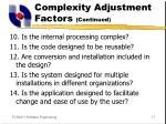 complexity adjustment factors continued17