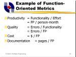 example of function oriented metrics