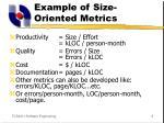example of size oriented metrics