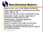 size oriented metrics