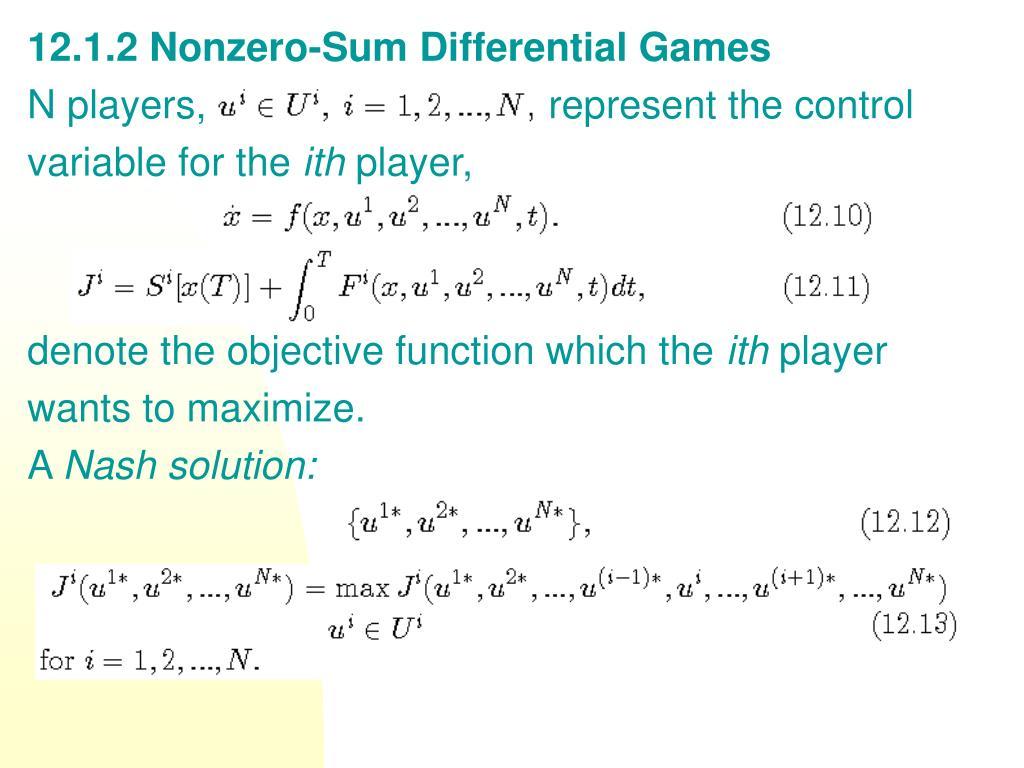 12.1.2 Nonzero-Sum Differential Games