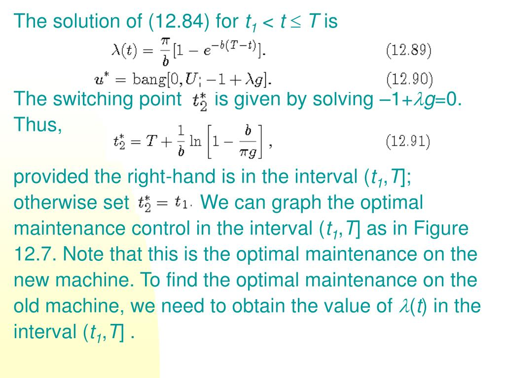 The solution of (12.84) for