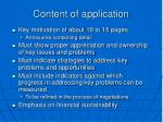 content of application