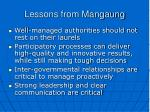 lessons from mangaung