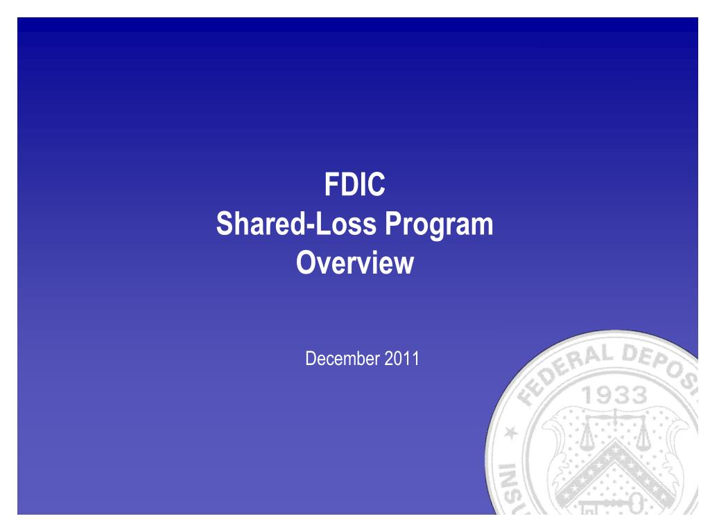 fdic shared loss program overview l.