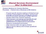 shared services environment why to what end