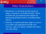 other stakeholders13