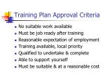 training plan approval criteria
