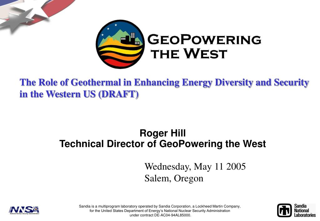 roger hill technical director of geopowering the west l.