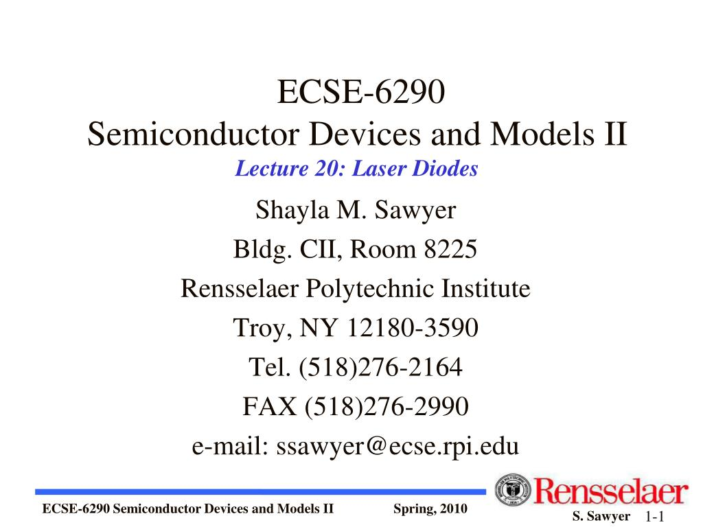 ecse 6290 semiconductor devices and models ii lecture 20 laser diodes l.
