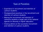 task of panelists