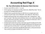 accounting red flags x no tax information abusive client service