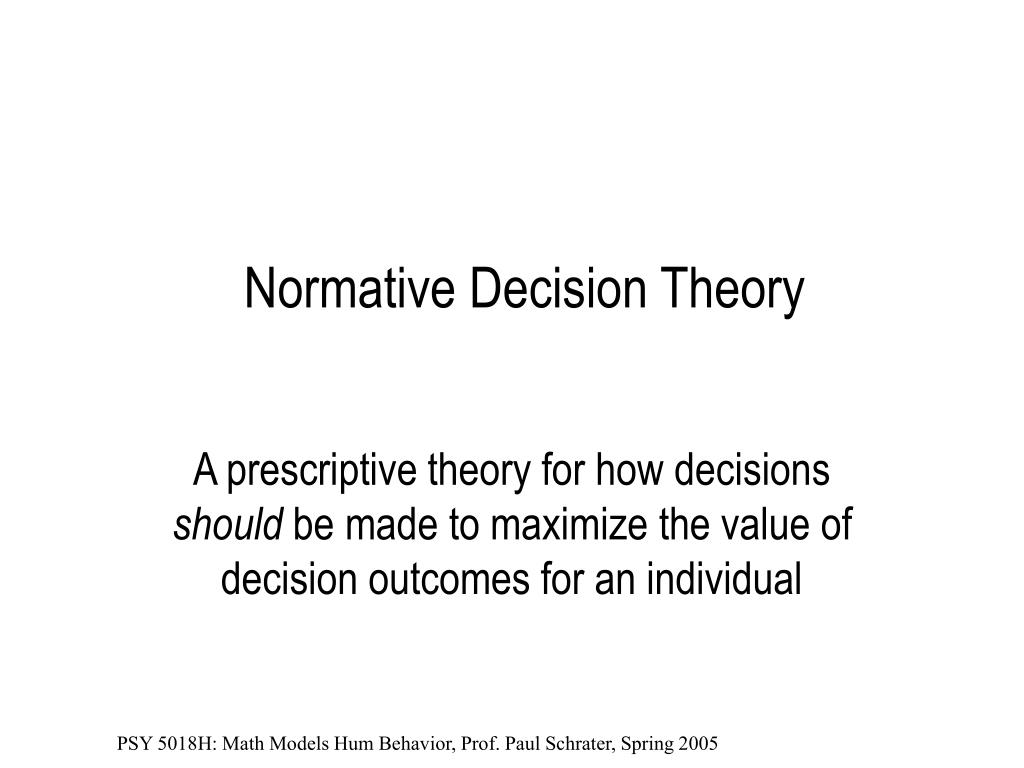 normative decision theory l.
