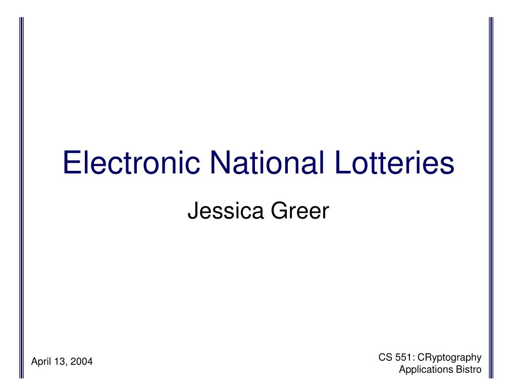 electronic national lotteries l.
