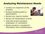 analyzing maintenance needs