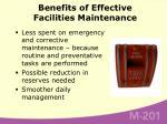 benefits of effective facilities maintenance