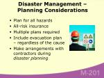 disaster management planning considerations
