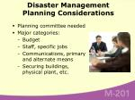disaster management planning considerations56