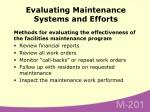 evaluating maintenance systems and efforts
