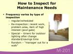 how to inspect for maintenance needs28