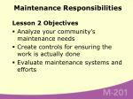 maintenance responsibilities