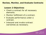 review monitor and evaluate contracts