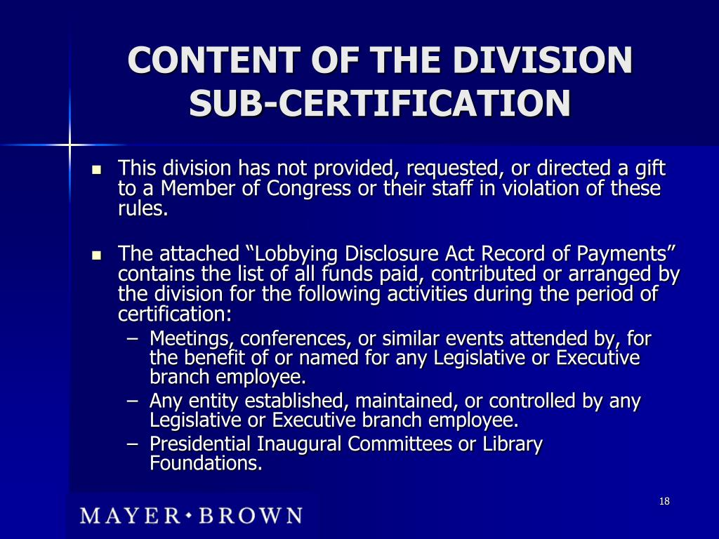 CONTENT OF THE DIVISION SUB-CERTIFICATION