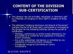 content of the division sub certification18