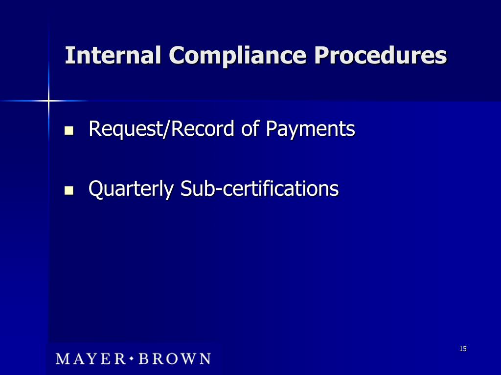 Internal Compliance Procedures